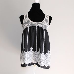 Just Ginger Black and Cream Racerback Lace Tank L